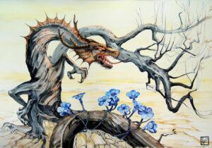 Украсить сухие деревья искусственными цветами